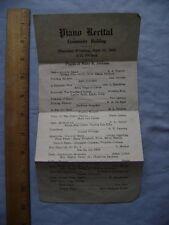 1928 Piano Recital One-sheet Program.  Wilmington, Delaware??