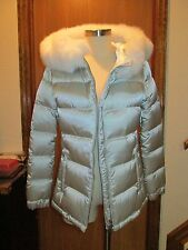 PRADA Lady Quilted Silver Coat Size 42 NEW $1940