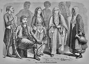 Turkey MEN AND WOMEN OF ANATOLIA Original Victorian Print by Figuier c1893