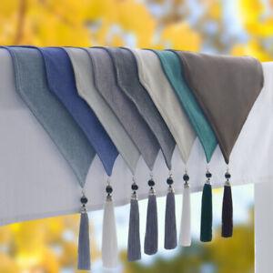 Japanese Triangle Tassel Table Runner Cotton Linen Tablecloth Retro Elegant Pure