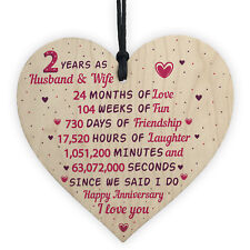 2nd Wedding Anniversary Gift Wooden Heart Cotton Second Wedding Anniversary Gift