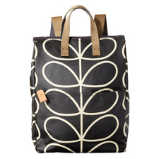 Orla Kiely Extra Large Black Giant Linear Stem Backpack Tote Laptop Bag