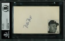 Giants Willie Mays Authentic Signed Index Cards Vintage Signature BAS Slabbed