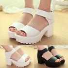 Womens Ladies Platform Chunky Block Heels Open Toe Sandals Pumps Shoes Slingback