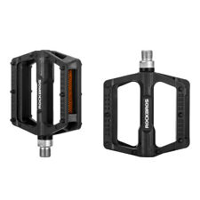 """ROCKBROS Mountain Nylon Bicycle Pedals Bearing Flat Pedals 9/16"""" a Pair Black"""