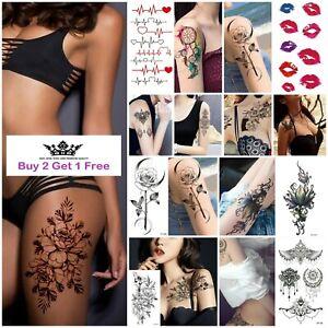 REALISTIC Womens Tattoos Sexy Love Flower Mandala Temporary Sticker Arm Leg Wrap