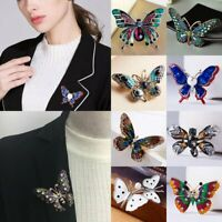 Fashion Enamel Butterfly Crystal Brooch Pin Costume Badge Womens Mens Jewellery