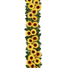 2Pcs Artificial Sunflower Garland 7.4ft Silk Sunflower Vine Wedding Table Decor