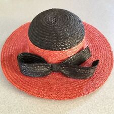 Italian 100% Natural Straw Hat Rn 36469. Red with Black Bow. ~13.5 X 14� Brim.