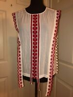 ALTUZARRA Alma $790 cotton top shirt red embroidery & dots  women's size 4 or 6