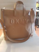 DKNY Beige Pleather Embossed Logo Tilly Large SHOPPER Bag Tote #010