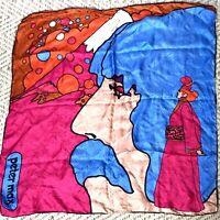Vintage 70s Peter Max Self Portrait 100% Silk Scarf Psychedelic Pop Art Japan