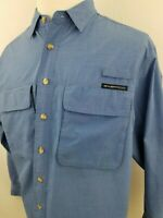 ExOfficio Insect Shield Blue Long Sleeve Vented Pockets Outdoor Shirt Medium