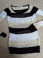 BOSTON PROPER MESH KNIT SEE THROUGH STRIPES TOP SWEATER COVER UP XXS NWOT