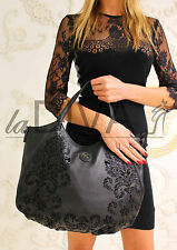MARINA GALANTI ~ Italy Trage-Tasche mit edlem Flock brokat barock schwarz Bag