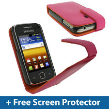 Pink Leather Flip Case for Samsung Galaxy Y S5360 Android Cover Holder Bumper