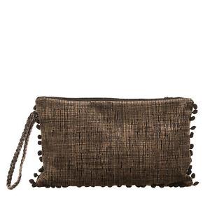 SADAMI BAGS Velour Clutch Bag Large Patterned Pom Poms Braided Wristlet Strap