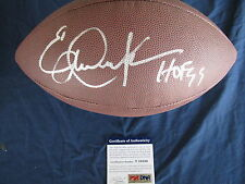 ERIC DICKERSON COLTS RAMS HAND SIGNED FOOTBALL AND PSA COA T18580 + PIC SIGNING