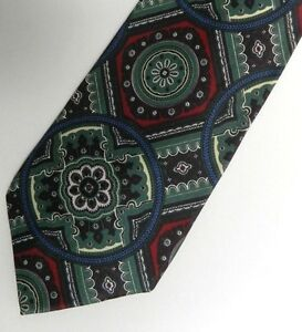 Gray Red Paisley Satin Silk FERRE Tie