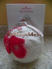 Hallmark 2013 A Cozy Christmas Ball Mittens Porcelain Fabric Ornament