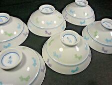 Set of 6 Japanese Porcelain Rice Soup Bowls with Bows Design