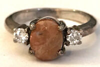 Sz6 Ring w/ Oval Pale Red/Brownish Stone & CZ Accents 925 Sterling Silver