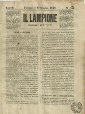 Il Lampione di Collodi Giornale Satirico Risorgimento N. 45 del 4 Settembre 1848