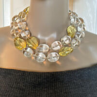"""Vintage Chunky Clear & Yellow Lucite Large Bead Necklace 38"""" Runway Statement"""