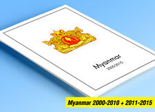 COLOR PRINTED MYANMAR 2000-2010 + 2011-2015 STAMP ALBUM PAGES (11 illust. pages)