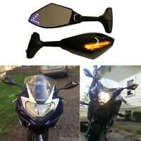 Motorcycle LED Turn Signals Side Mirrors For Suzuki GSXR 600 750 1000 Hayabusa