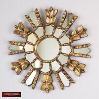 """Accent Gold Round Sunburst Mirror 9.8"""", Ornate Peruvian Round Mirror for wall"""