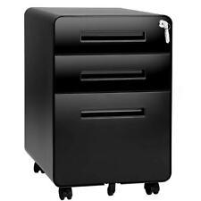 File Cabinet Vertical Metal Black Three Drawer Locking Storage Rolling Mobile
