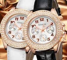 PU Leather Women`s Rose Gold 3 Decoration Dials Crystal Analog Quartz Watches