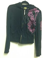 South Pole UK Size Small S Black Hoodie Golden Zip Down Shiny Pink Grey Print