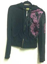 Pôle Sud UK Taille S S Noir à Capuche Zip doré sur rose brillant gris imprimé