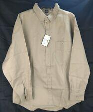 North End SportMen's Button Down Collar Long Sleeve Shirt Khaki Tan Color New