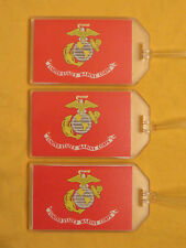 USMC MARINES LUGGAGE TAGS 3-PACK SET - MARINE CORPS GLOBE INSIGNIA w ANCHOR LOGO