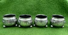 FOUR MATCHING VICTORIAN SILVER OPEN SALTS BY GEORGE UNITE - B'HAM 1881 - 4.55ozt