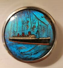 """Vintage British Made R M S Queen Mary Ocean Liner Compact Butterfly Wings 2"""""""