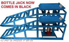 2x Heavy Duty Hydraulic Car Ramps 3000lbs Garage Van Bottle Lift Jack Ramp