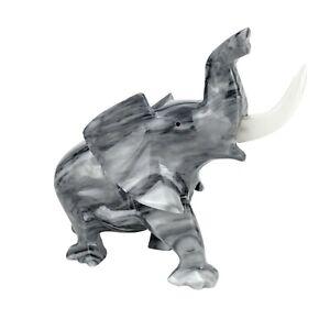 "Vintage Hand Carved Marble Stone Elephant Statue Figurine 7"""
