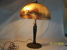 Reverse Hand Painted Shade Signed- Miller Lamp Co., Art Deco Era Table Lamp