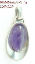 Sterling Silver 925 Elongated Pendant Estate Modernist Oval Amethyst Cabochon