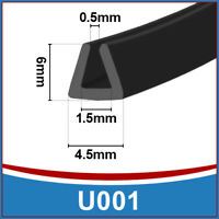 Rubber U Channel Edging Edge | Flexible Trim Seal |  Fits 0.5mm to 1.5mm | Black