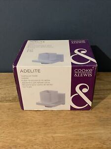 Cooke & Lewis Adelite White Painted TOOTHBRUSH TUMBLER and HOLDER Modern Square