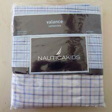 "NEW Nautica Kids ""William"" Valance Blue White Plaid 100% Cotton 56 x 13.5"""