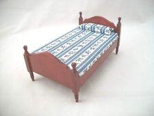 "Bed - Single dollhouse miniature furniture 1"" scale T3276 wood & mahogany finish"