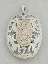South American Tribal Pin Pendant Vintage Sterling Silver & Gold