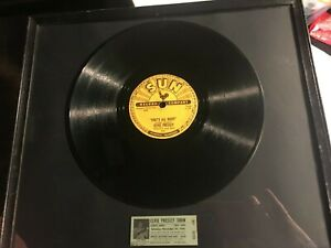 """Elvis Presley  Framed """"That's All Right"""" Record With a Ticket Stub From 1956"""