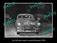 OLD POSTCARD SIZE PHOTO OF NEW YORK STATE POLICE PATROL CAR c1950s